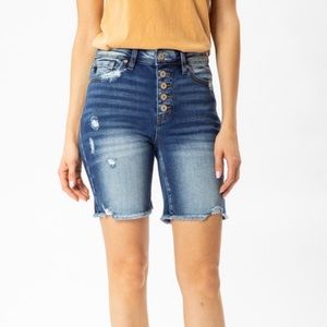 Jean Button Fly Shorts